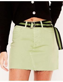 Coloured Denim Mini Skirt by Glassons