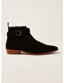 Black Suede Trail Buckle Boots by Topman