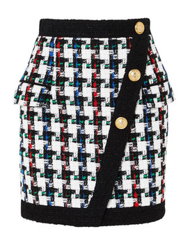 Button Embellished Tweed Mini Skirt by Balmain