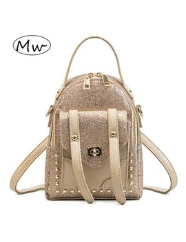 Moon Wood Fashion Small Rivet Sequined Backpack Double Belt Women Mini Shoulder Bag Backpack Children Girls School Bag Bling2018 by Moon Wood