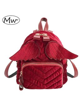Moon Wood Brand Designer Striped Wings Backpack Fashion Women Mini Velvet Backpack Daily Shoulder Bag Children Girls School Bag  by Moon Wood