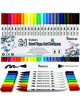 Bullet Journal 24pcs Colouring Pens, 0.4mm Felt Tip Pens Dual Tip Brush Art Markers Fineliner, Water Color Drawing Pens by Tomaxis