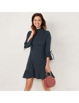 Women's Lc Lauren Conrad Mockneck Flounce Hem Sweater Dress by Kohl's