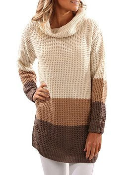 Sunmmwery Women Color Block Tunic Turtleneck Knit Long Sleeve Sweater Pullover by Sunmmwery