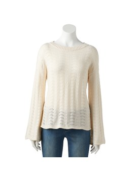 Women's Lc Lauren Conrad Pointelle Trumpet Sleeve Sweater by Kohl's