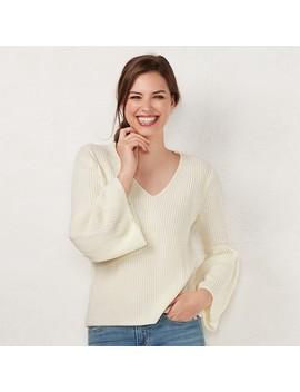 Women's Lc Lauren Conrad V Neck Bell Sleeve Sweater by Kohl's