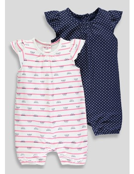 Girls 2 Pack Nautical Shortie Rompers (Newborn 18mths) by Matalan