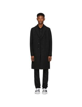 Grey Boiled Wool Overcoat by Harris Wharf London