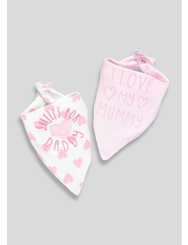 2 Pack Mummy & Daddy Bandana Bibs (One Size) by Matalan