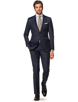 Lazio Navy Plain Suit by Suitsupply