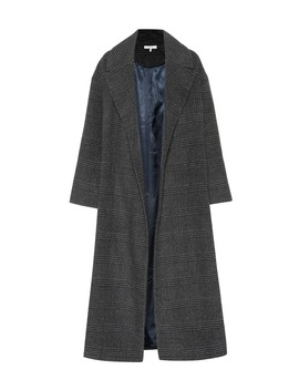 Woodside Checked Wool Blend Coat by Ganni