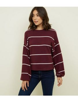 Burgundy Stripe Brushed Fine Knit Balloon Sleeve Top by New Look