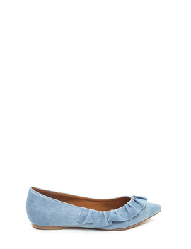 Regal Ruffle Pointy Denim Flats by Go Jane