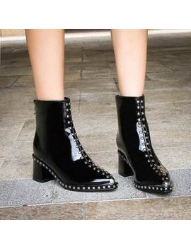 Mriya Studded Patent Leather Ankle Boots by Jessica Buurman