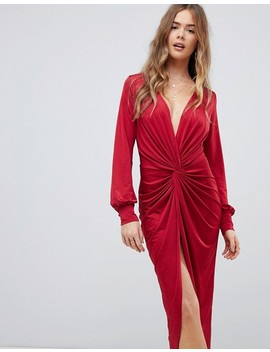 Boohoo Slinky Twist Front Midi Dress In Red by Boohoo