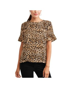 Women's Short Sleeve Frill Top by Como Blu