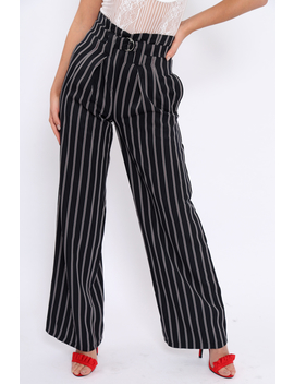 Navy And Brown Striped Wide Leg Trousers   Nalia by Rebellious Fashion