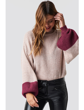 Blocked Hem Balloon Sleeve Sweater by Trendyol