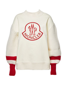 Cotton Pullover With Virgin Wool Sleeves by Moncler