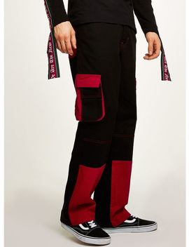 Granted Black And Red Cargo Pants* by Topman
