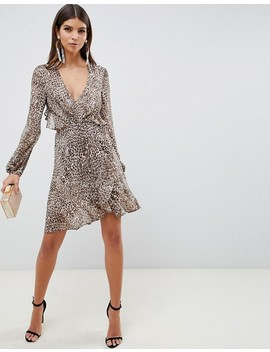 Asos Design Long Sleeve Mini Dress With Open Back In Leopard Print With Ruffle Details by Asos Design