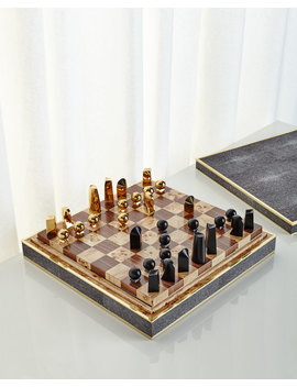 Chocolate Shagreen Chess Set by Aerin