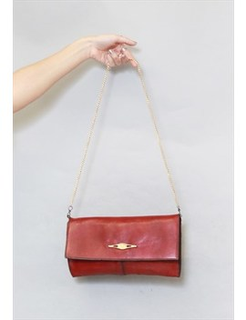 Vintage 1970's Deep Red Leather Gold Chain Hand Bag by Peekaboo Vintage