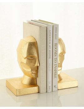 Pair Of Profile Bookends In Golden Leaf by Neiman Marcus