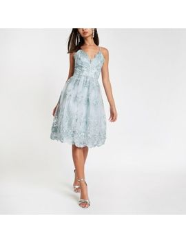 Chi Chi London Blue Lace Floral Prom Dress by River Island