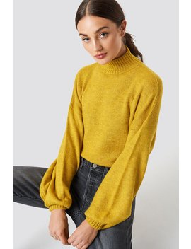 High Neck Balloon Sleeve Knitted Sweater by Na Kd