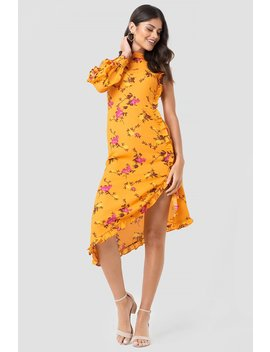 One Sleeve High Neck Frill Dress by Na Kd