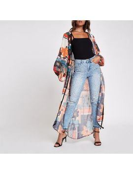 Blue Gem Embellished Ripped Jeans by River Island