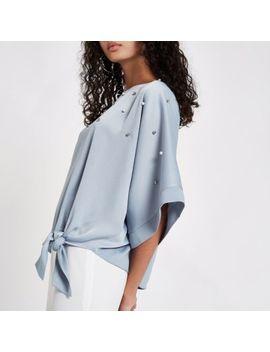 Blue Pearl Embellished Kimono Sleeve Top by River Island
