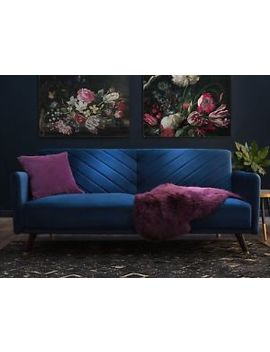 Velvet Fabric Sofa Bed Blue Senja by Ebay Seller