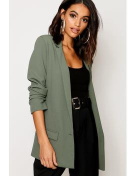 Oversized V Detail Rouche Sleeve Blazer by Boohoo