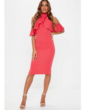 Pink High Neck Frill Cold Shoulder Midi Dress by Missguided