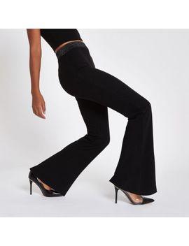 Black Jersey Wide Leg Metallic Trousers by River Island