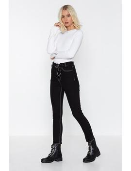 Buckle Contrast Stitch Skinny Jeans by Nasty Gal