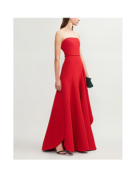 Strapless Asymmetric Woven Gown by Elie Saab