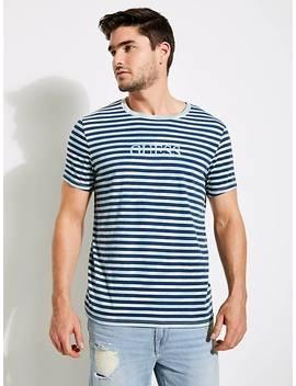 Stripe Motif Logo T Shirt by Guess