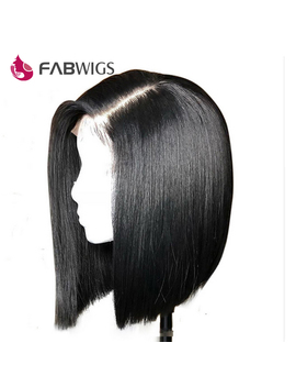 Fabwigs 180 Percents Density Straight Lace Front Human Hair Wigs Bob Wig Malaysian Short Human Hair Wigs For Women Ntural Black Remy by Fabwigs