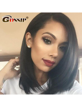Lace Front Human Hair Wigs For Black Women Gossip Short Bob Wig Pre Plucked With Baby Hair Malaysian Straight Wig Remy Hair by Gossip