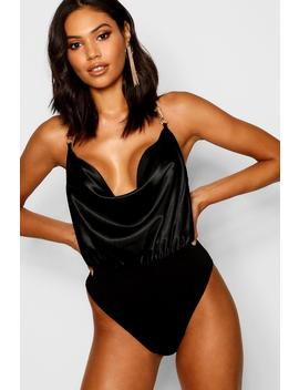 Satin Cowl Bodysuit by Boohoo