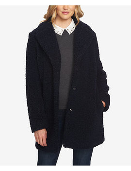 Shearling Snap Button Coat by Ce Ce