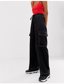 Collusion Satin Cargo Trouser With Contrast Stitch by Collusion