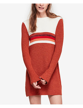Colorblocked Bell Sleeve Sweater Dress by Free People
