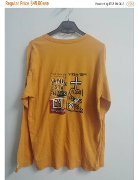 Sept Sale 35 Percents Off Vintage Retro Jean Michel Basquiat Versus Melon Pop Art Ls Shirt by Etsy