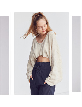 Women Solid Beige Big V Neck Crop Sweater Batwing Sleeve Loose 2018 Winter New Lady Sexy Character Knitwear Femme Knitted Top by Liva Girl