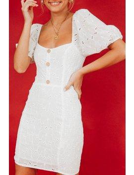 La Belle Button Front Anglaise Mini Dress // White by Vergegirl
