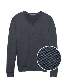 silk-cotton-cashmere-v-neck-birdseye-sweater by banana-repbulic
